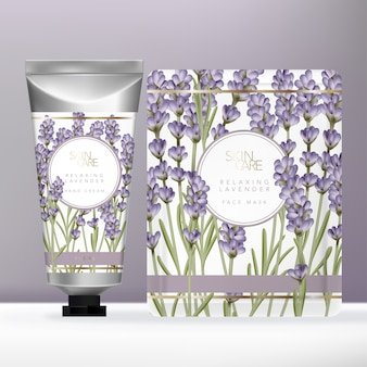Violet lavender beauty set with metallic silver hand cream tube & face mask packet or sachet packaging