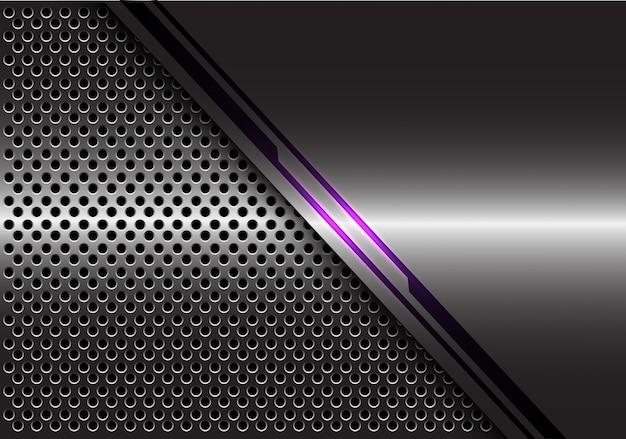 회색 금속 원형 메쉬 배경에 보라색 빛 라인 에너지.
