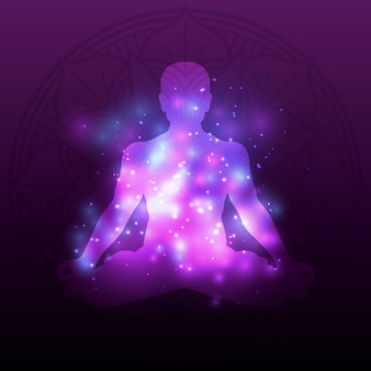 Violet meditation silhouette mandala with shiny effect