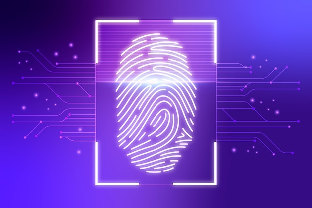 Violet neon fingerprint background