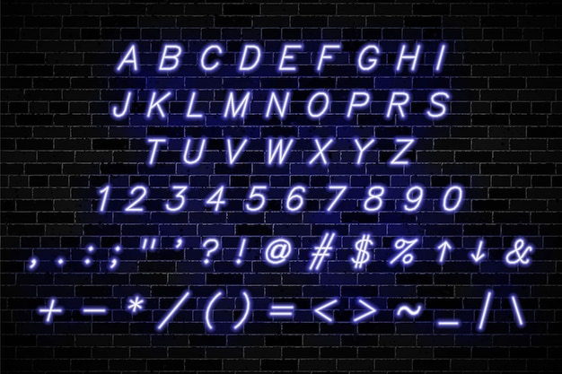 Violet neon signs capital letters, numbers and symbols on dark brick wall