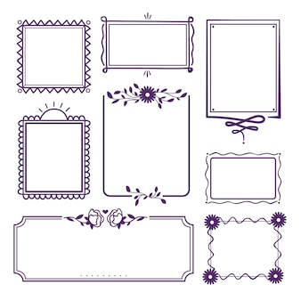 Violet ornamental frame hand drawn collection