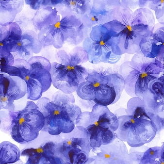 Violet pansy flowers seamless pattern
