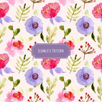 바이올렛 핑크 꽃 수채화 원활한 패턴