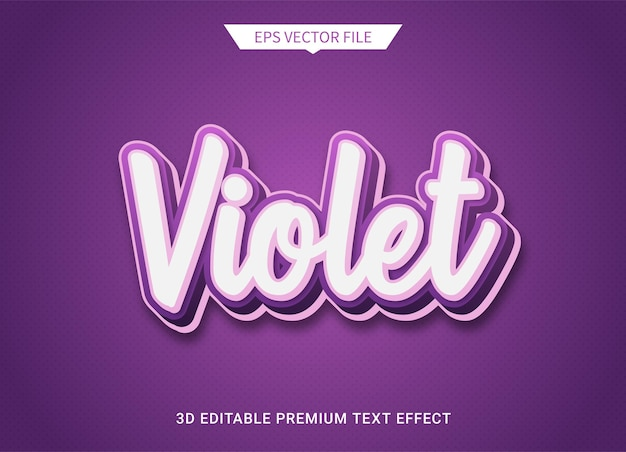 紫紫3d編集可能なテキストスタイル効果プレミアムベクトル