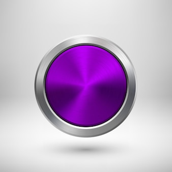 Violet, purple technology circle badge Premium Vector