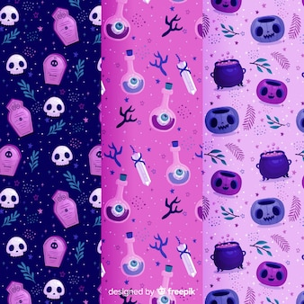 Violet shades of flat halloween pattern collection