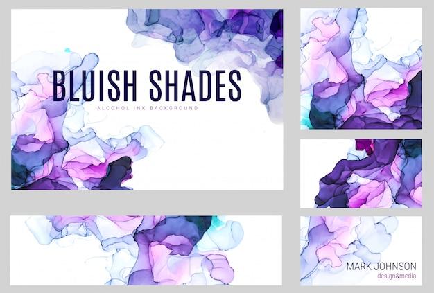 紫の色合いの水彩画カードコレクション、ぬれた液体、手描きの背景水彩画テクスチャ