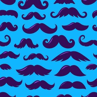 口ひげのシームレスなパターンベクトルの紫のシルエット