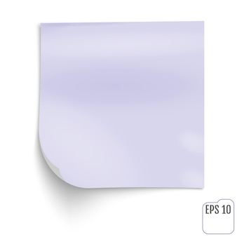 Violet stick note paper on white background