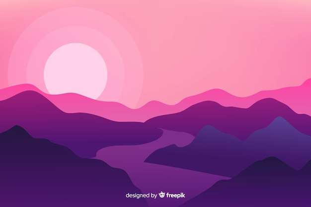 Violet sundown with mountains and river