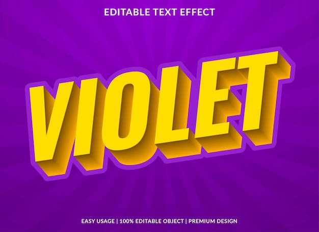 Violet text effect template with 3d type style and bold text