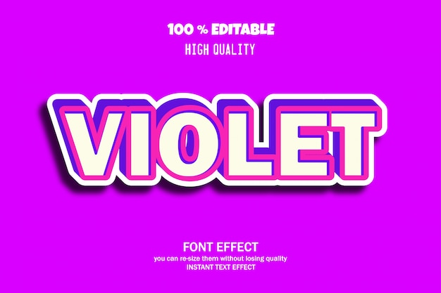 Violet text style, editable font effect
