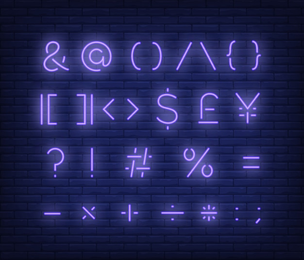 Violet text symbols neon sign