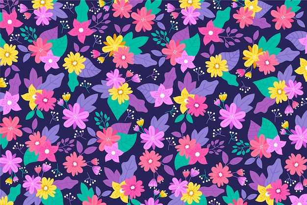 Violet tones of ditsy floral background with golden flowers