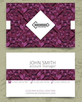 Violet triangles modern business card design template. white rhombus element with logo on pink purple background. color line. volume 3d geometric pattern.