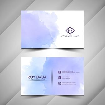 Фиолетовый акварельный дизайн визитной карточки