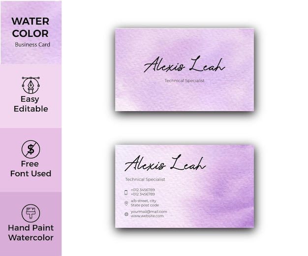 Violet watercolor business card design
