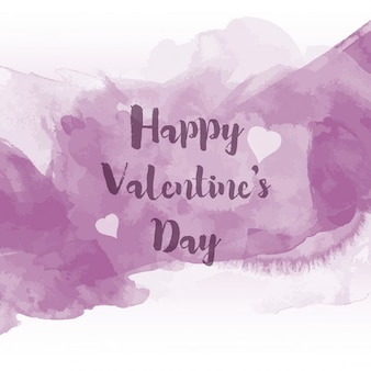 Violet watercolor valentine day background