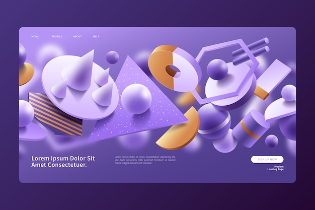 Violet and yellow 3d geometric shapes landing page