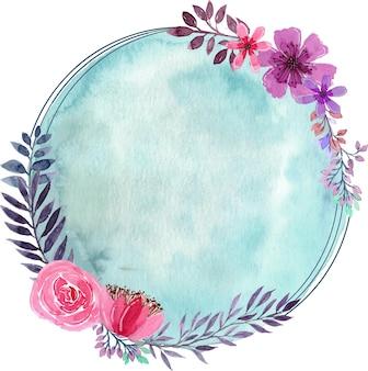 バイオレットピンクの花柄水彩サークルパターン