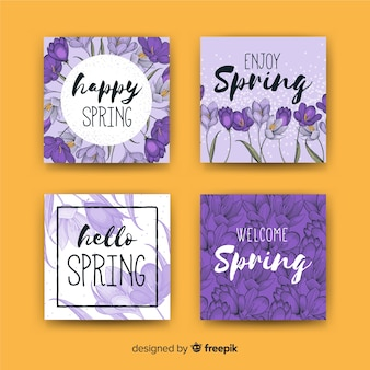 Violets spring card collection