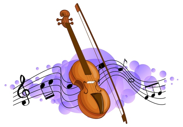 Violin classical music instrument with melody symbols on purple splotch