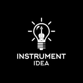 Violin fiddle cello piano and electric bulb creative instrumen idea design