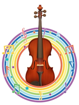 멜로디 기호가 있는 레인보우 라운드 프레임의 바이올린