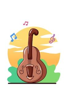 Violin musical instrument cartoon illustration