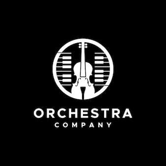 Violin and piano musical instrument logo for ochestra group