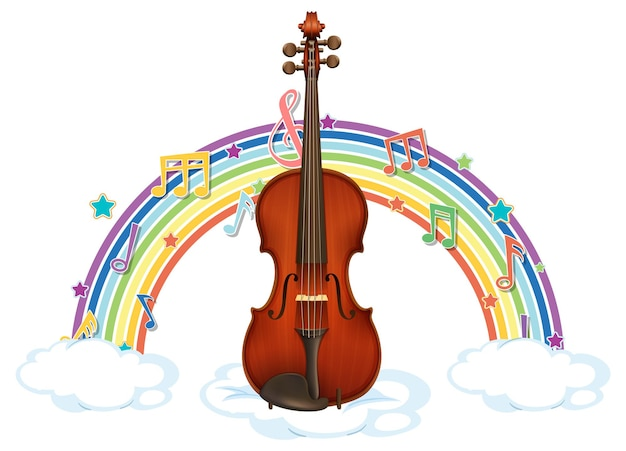 무지개에 멜로디 기호가 있는 바이올린
