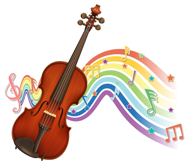 Violin with melody symbols on rainbow wave