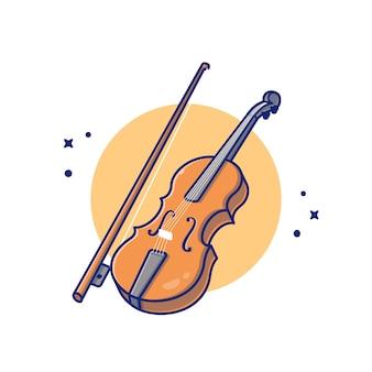 바이올린 나무 음악 만화 아이콘 그림입니다. 음악 악기 아이콘 개념 절연 프리미엄입니다. 플랫 만화 스타일