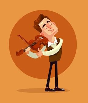 Играет скрипач. плоский мультфильм иллюстрации