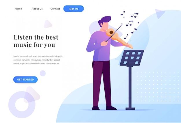 Целевая страница веб-сайта альтиста с иллюстрацией