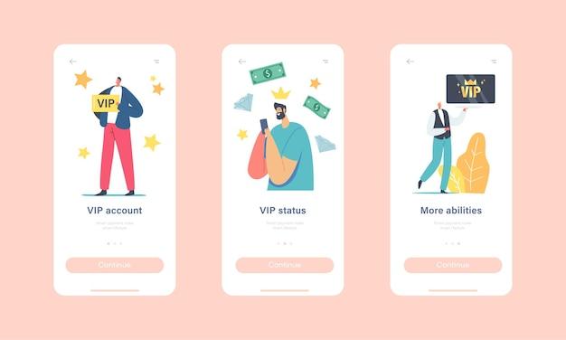 Встроенный шаблон экрана страницы мобильного приложения vip-аккаунта. роскошные персонажи с золотыми картами получают премиальное обслуживание, образ жизни vip-персон, концепцию людей с большими способностями. векторные иллюстрации шаржа