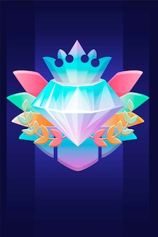 Vip award diamond, prize with crown badge for ui games. vector illustration luxury icon reward winner, rich crystal for graphic design.