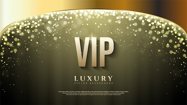 Vip background with gold lettering illustration with bokeh light at the top.