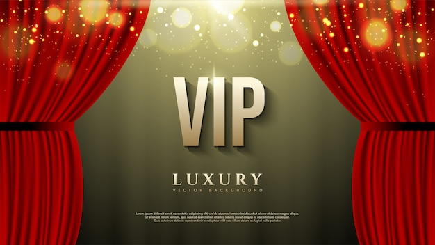 Vip background with gold lettering illustration with red curtains.