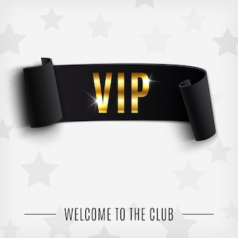 Vip background with realistic black curved ribbon.  illustration