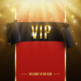 Vip background with realistic black curved ribbon, rays of light, particles and stars.