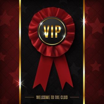 Vip background with realistic red fabric award ribbon.  illustration.