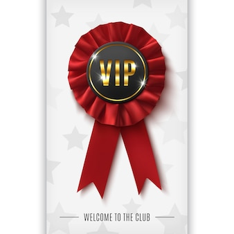 Vip background with realistic red fabric award ribbon