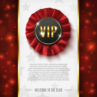 Vip background with realistic red fabric award ribbon.