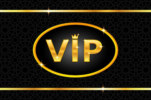黒のアラビア語のパターンに王冠とフレームと光沢のあるゴールドのテキストとvipの背景。プレミアムで豪華なバナーまたは招待状のテンプレートデザイン。ベクトルイラスト。