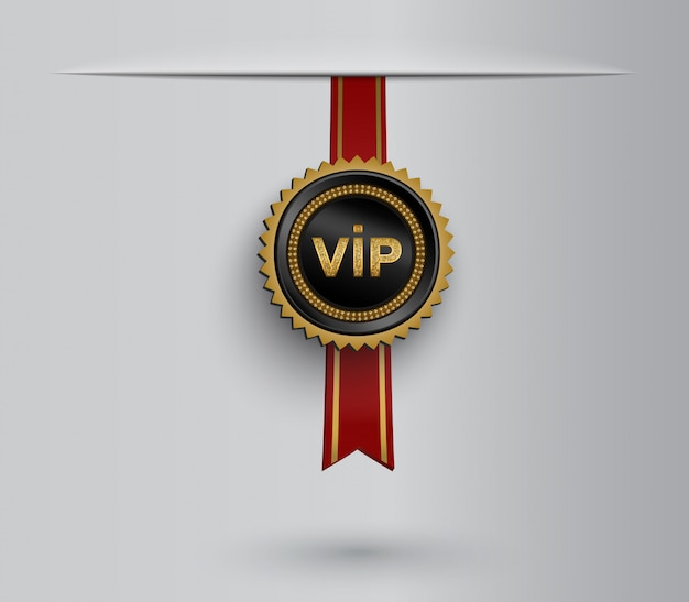 Vip badge on red ribbon