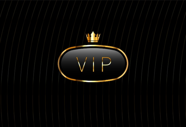 Vip black glass label with golden crown isolated