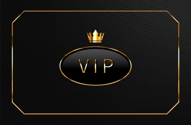Vip black  label with golden crown. luxury card template design.