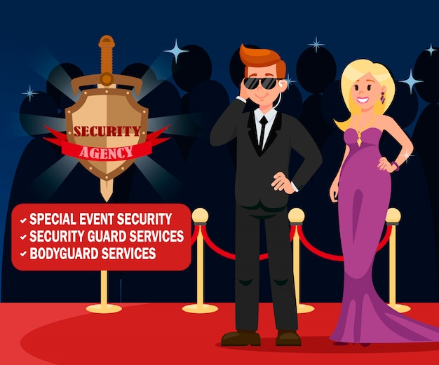 Vip bodyguard and elegant woman banner template.